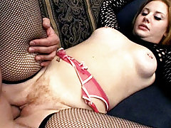 Hairy hottie Cherry Poppens deepthroats a cock while another dick is drilling her pussy