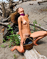 Exotic hippie strips down at the beach to reveal her natural furry bush and hairy pits.