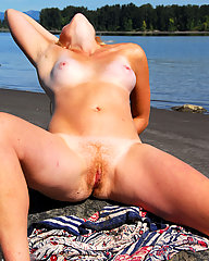 Young, hairy hippie girl with blond bush and furry pits.