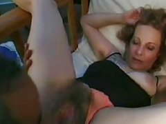 Blonde mature lady gets her hairy pussy eaten